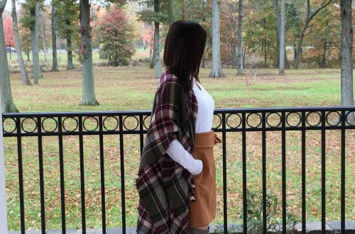 Olive Green Plaid Ruana + Foldover Wrap Skirt