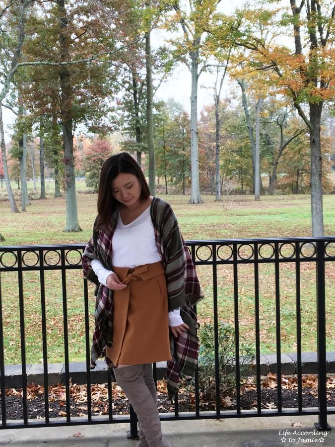 Olive Green Plaid Ruana + Foldover Wrap Skirt 5