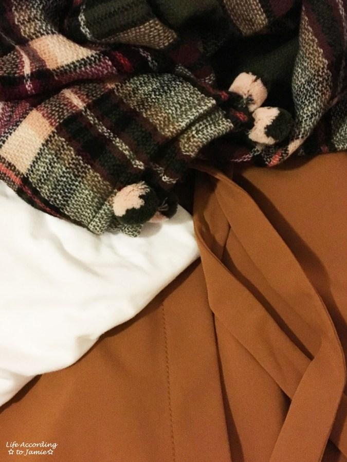 Olive Green Plaid Ruana + Foldover Wrap Skirt