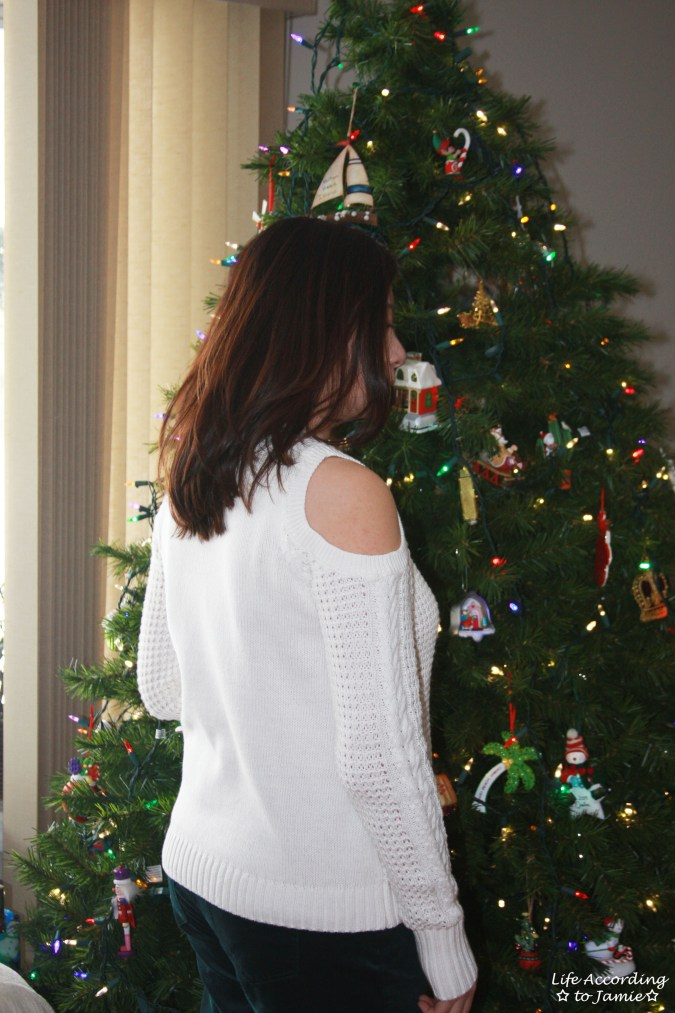 White Cold Shoulder Sweater 2