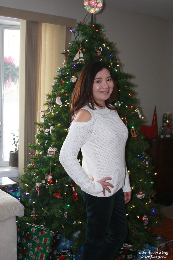 White Cold Shoulder Sweater 5