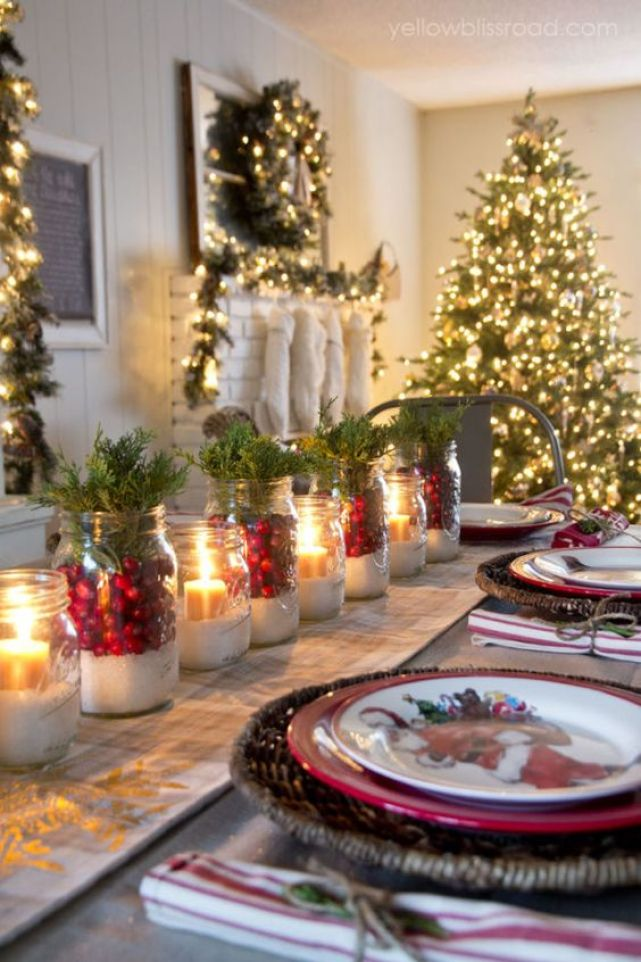 christmas tablescape - cranberries