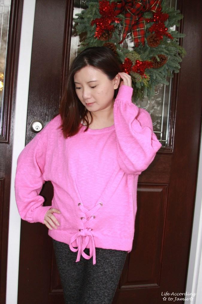 Balloon Sleeve Corset Sweater