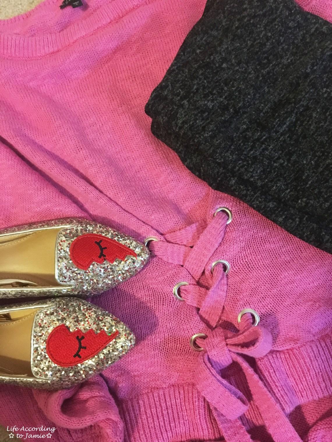 Broken Heart Flats + Corset Sweater + Leggings