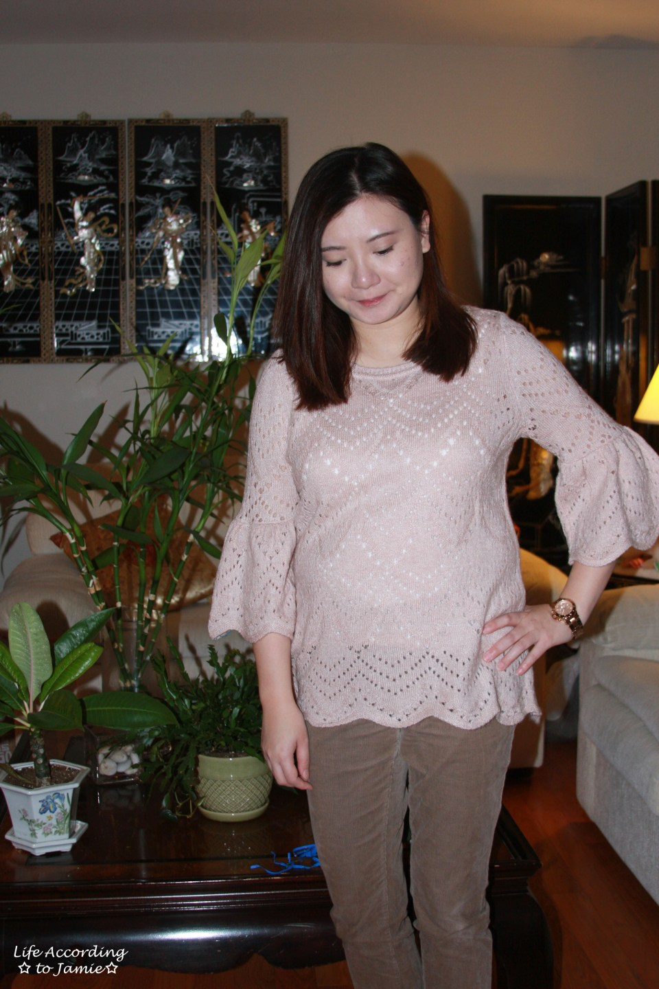 Pink Silhouette Bell Sleeve Sweater 2