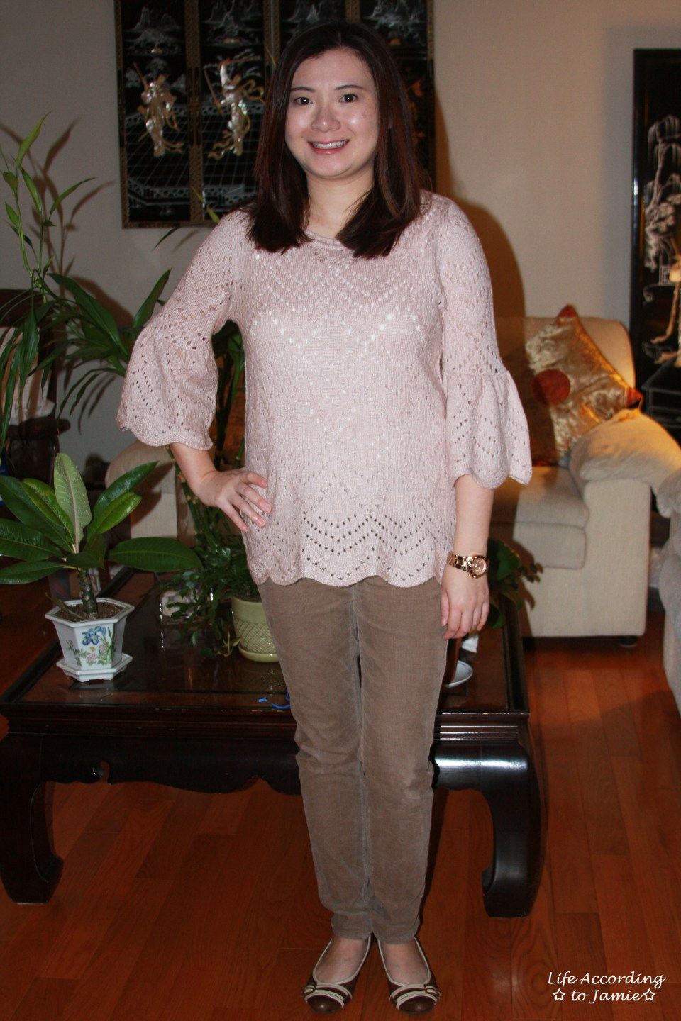 Pink Silhouette Bell Sleeve Sweater