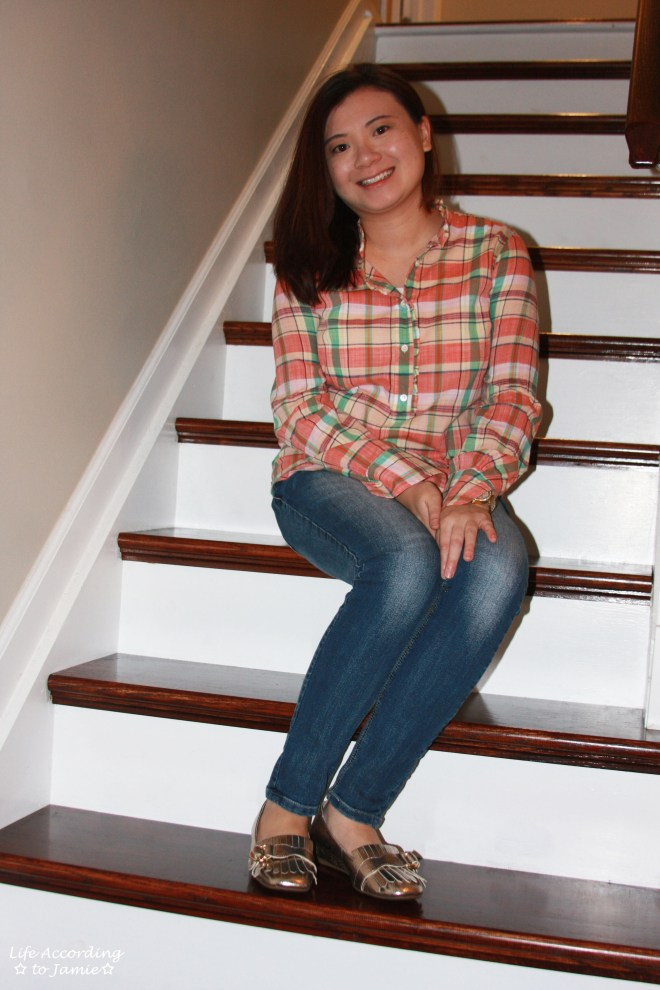 Plaid Henley + Gold Metallic Loafers 2