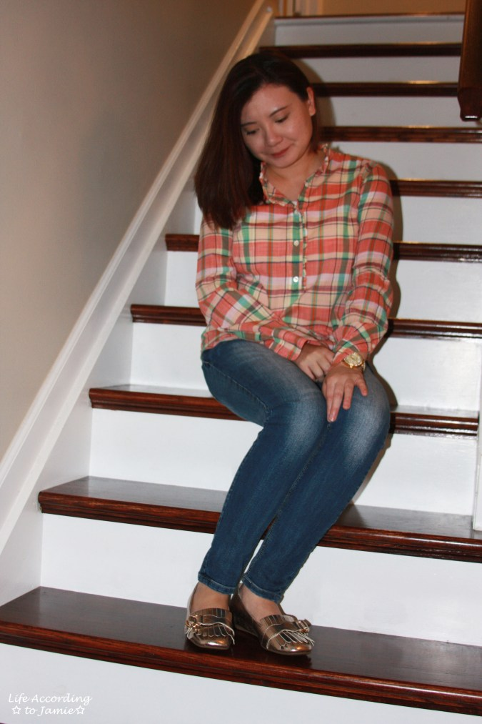 Plaid Henley + Gold Metallic Loafers 3