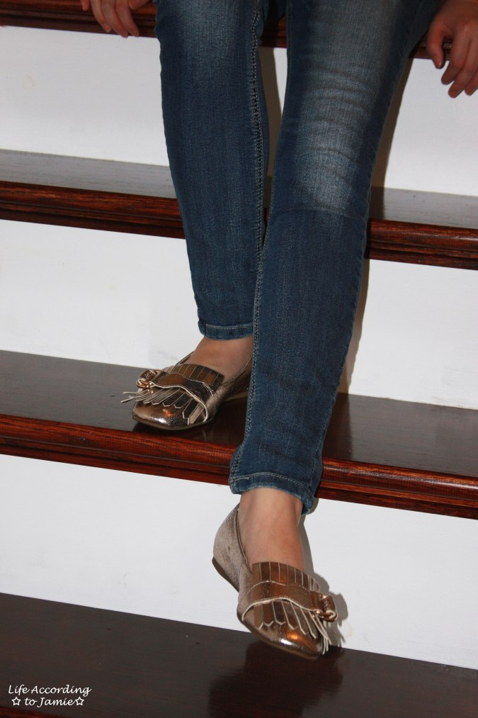 Plaid Henley + Gold Metallic Loafers 6