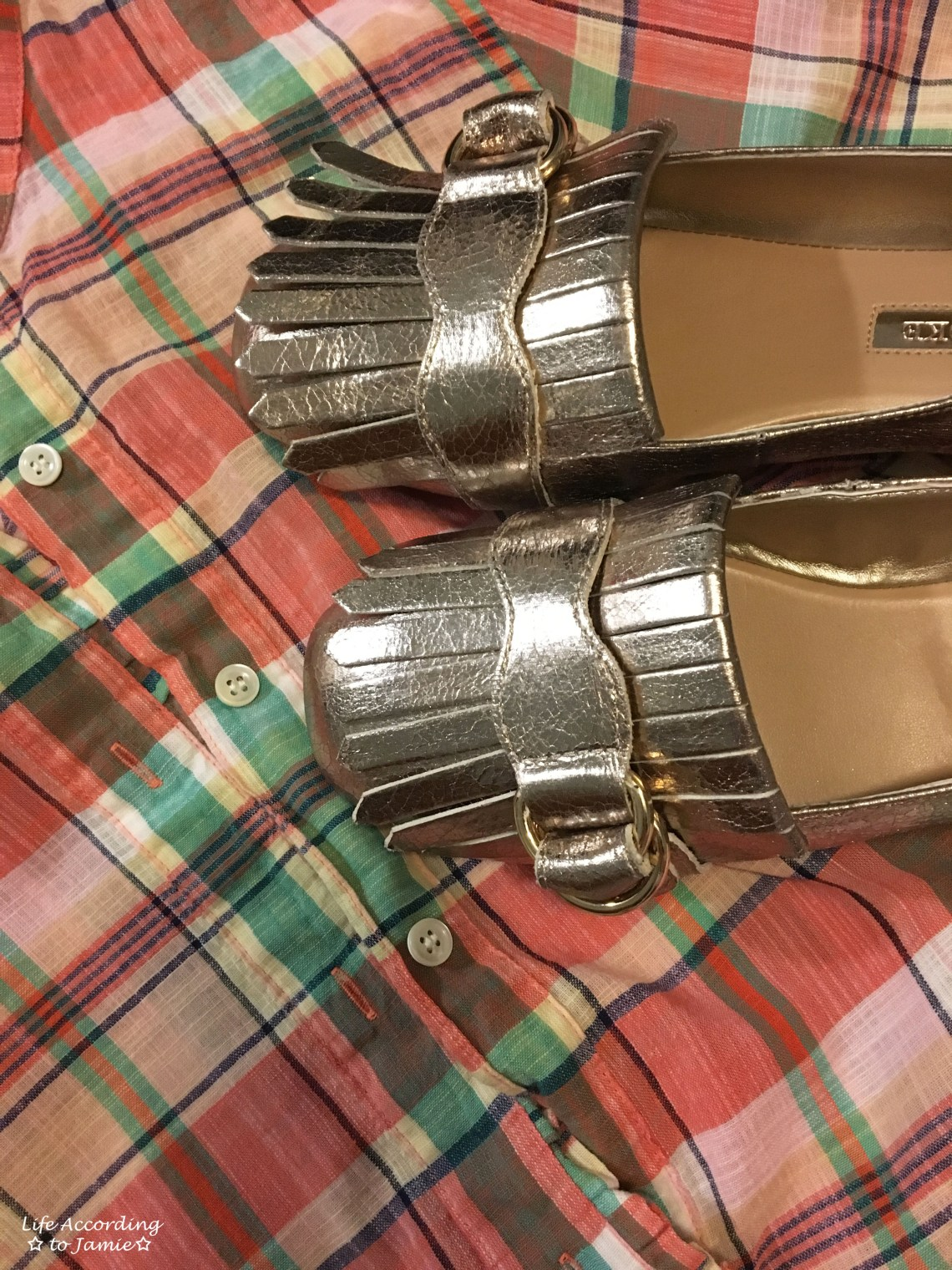 Plaid Henley + Gold Metallic Loafers