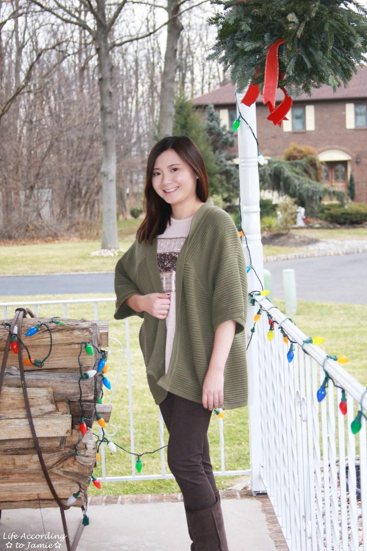 Sequins Stripe Tee + Khaki Chunky Knit 6