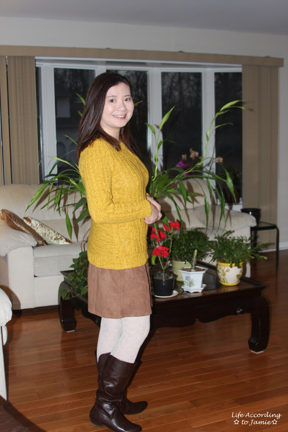 Golden Yellow Cable Knit + Faux Suede Skirt 10