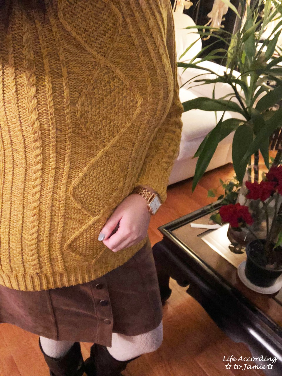 Golden Yellow Cable Knit + Faux Suede Skirt 2