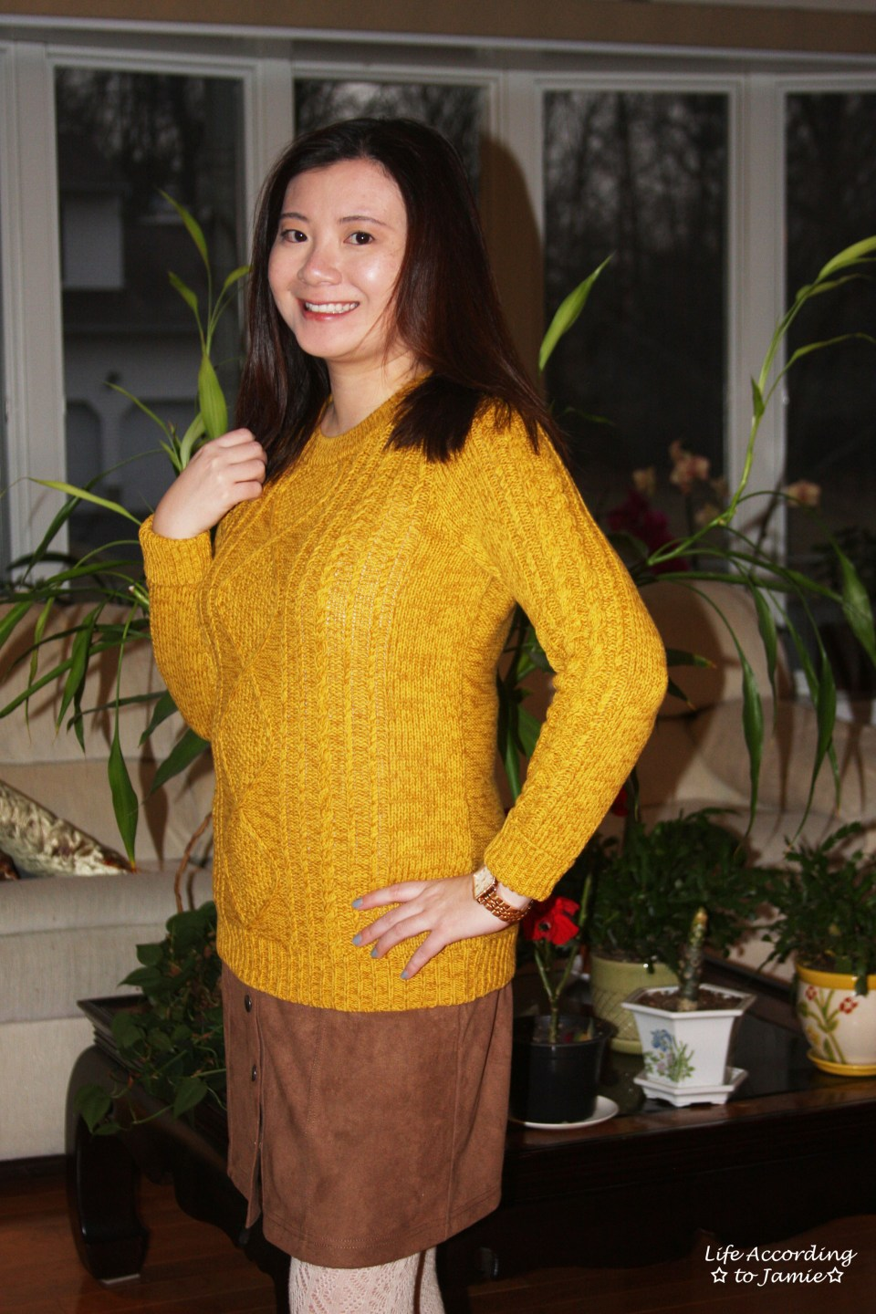 Golden Yellow Cable Knit + Faux Suede Skirt 5