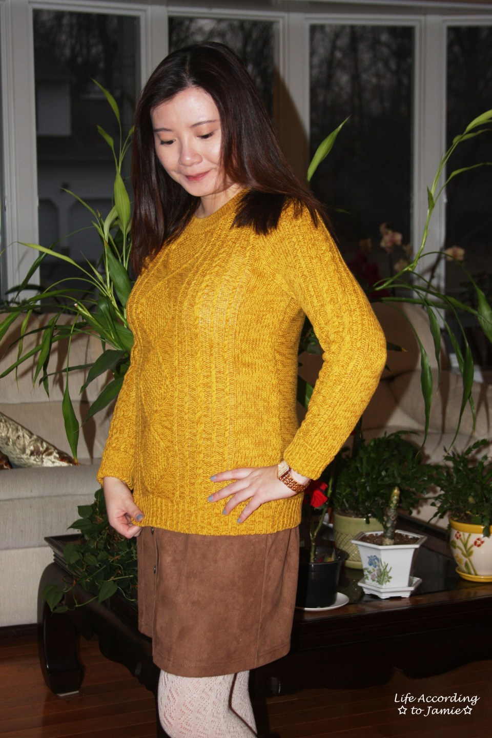 Golden Yellow Cable Knit + Faux Suede Skirt 6