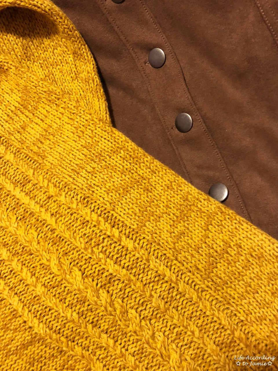 Golden Yellow Cable Knit + Faux Suede Skirt