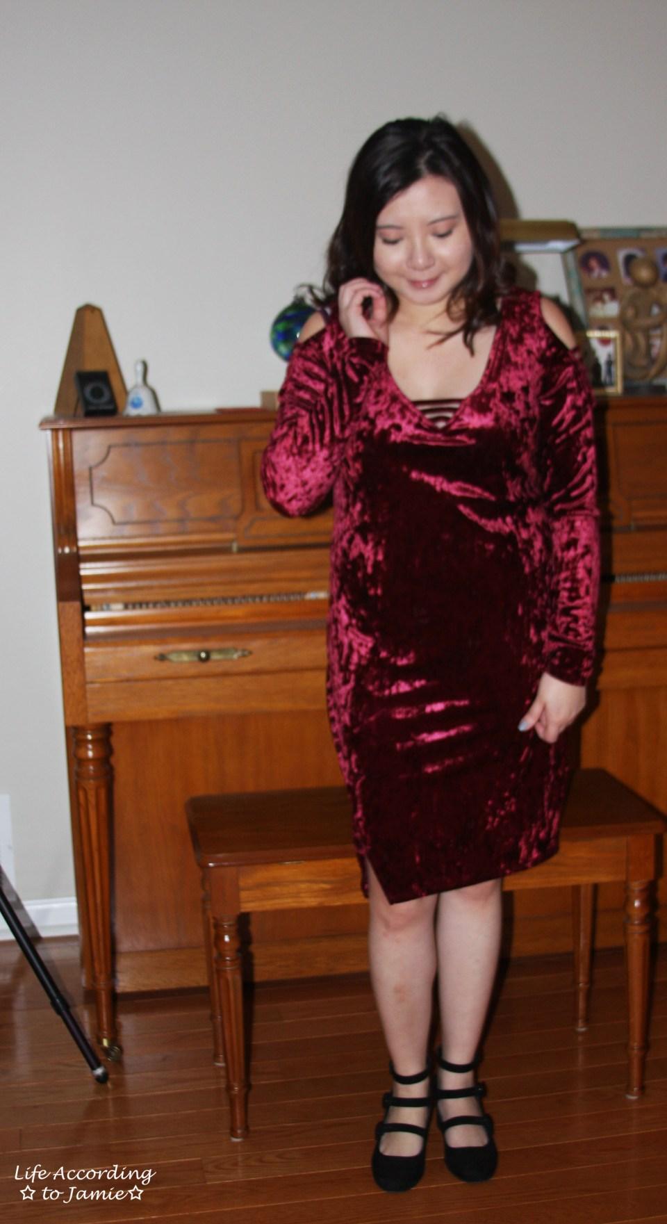 Red Velvet Cold Shoulder Dress 3