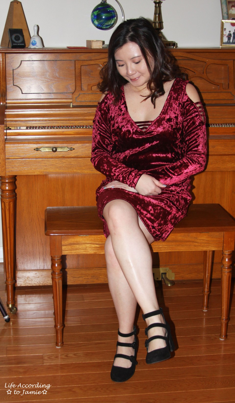 Red Velvet Cold Shoulder Dress 5