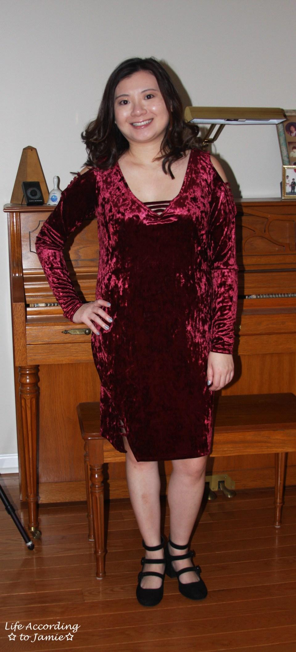 Red Velvet Cold Shoulder Dress 8