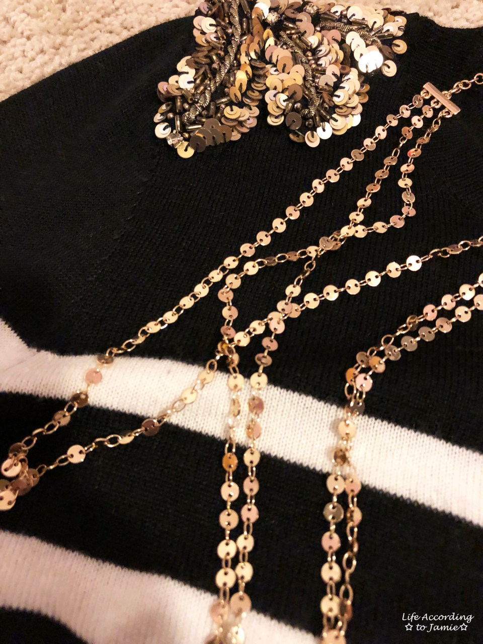 Sequin Shoulder Top + Gold Disc Layered Necklace 1