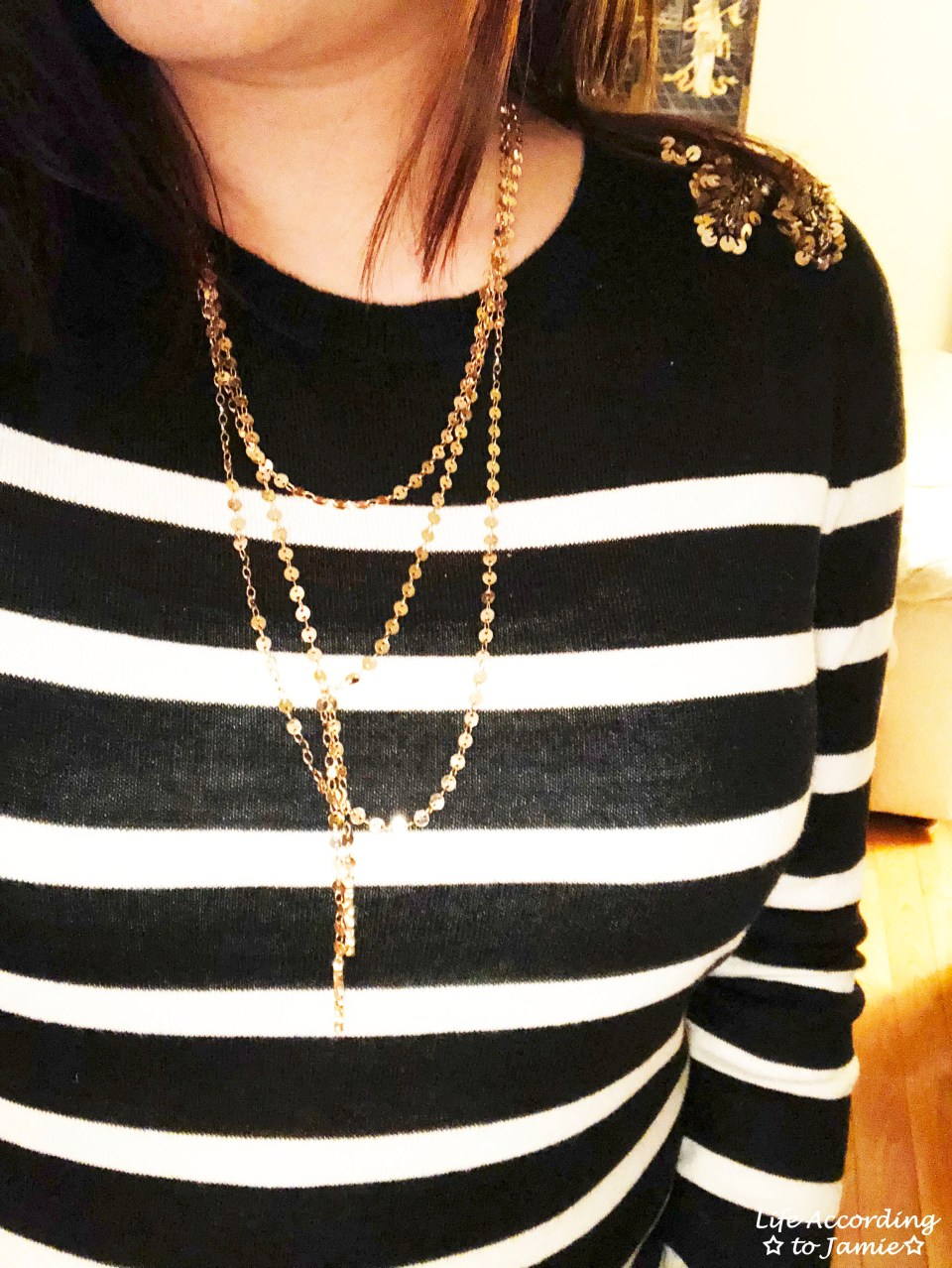 Sequin Shoulder Top + Gold Disc Layered Necklace 3