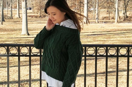 Two-Piece Cable Knit + Collared Shirt