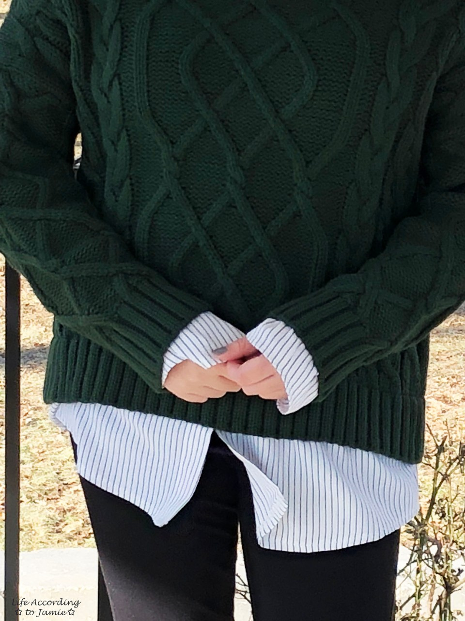 Two-Piece Cable Knit + Collared Shirt 9