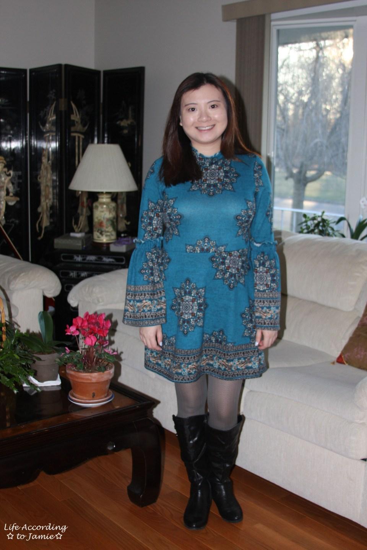 Bell Sleeve Fleece Dress 12