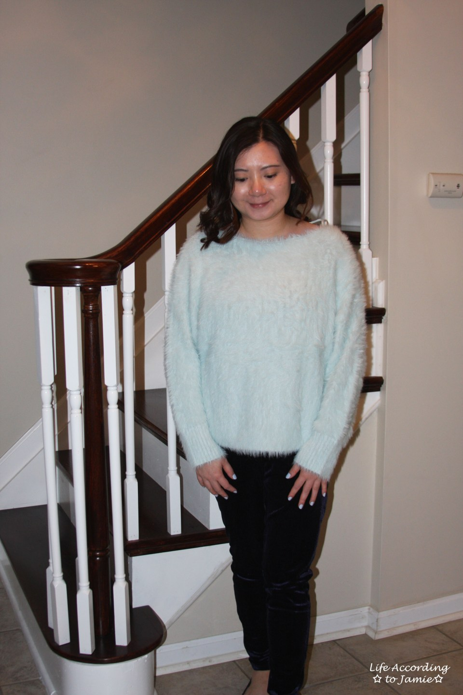 Ice Blue Fuzzy Sweater 5