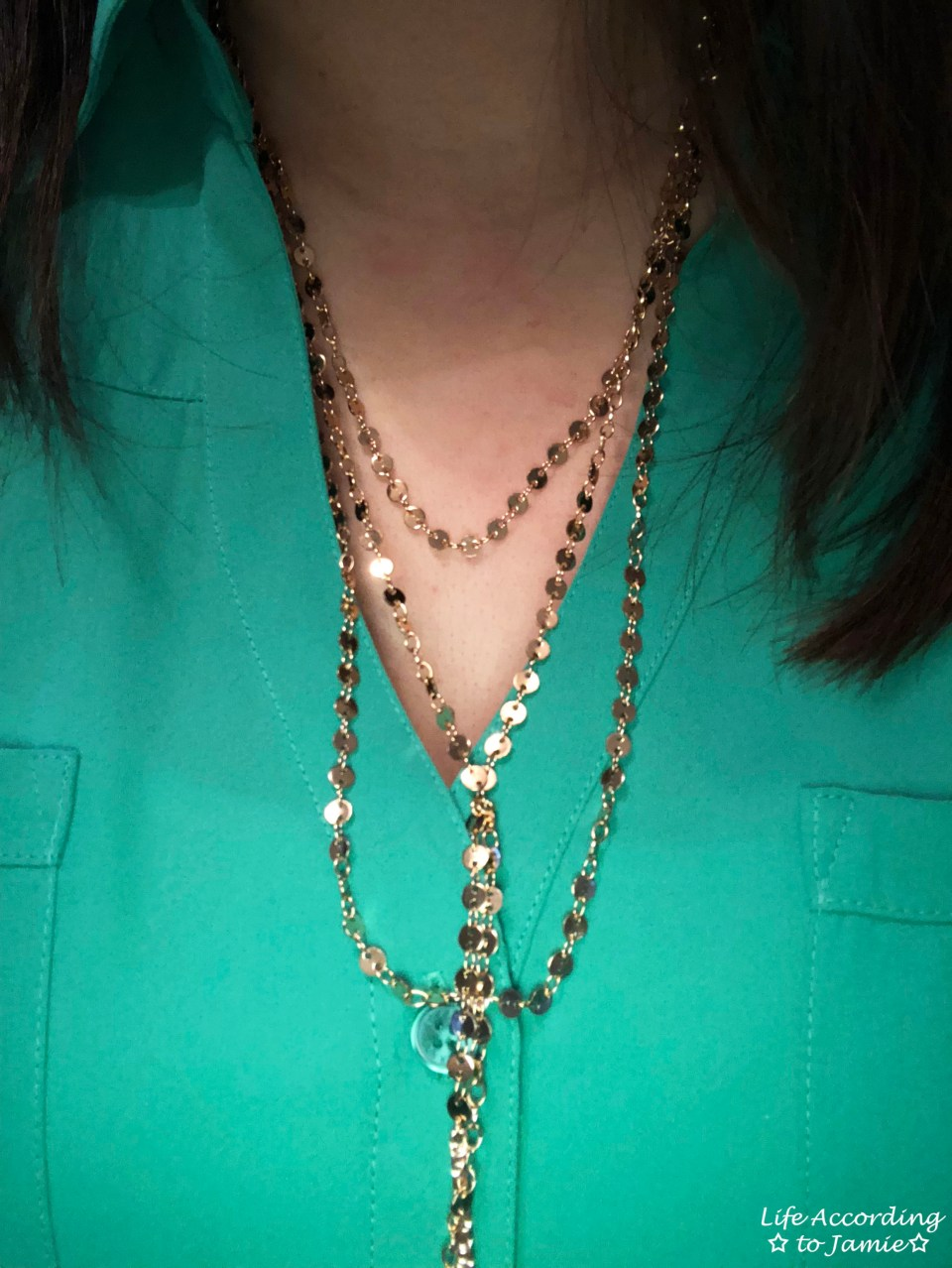 Kelly Green Blouse + Gold Layered Necklace 1