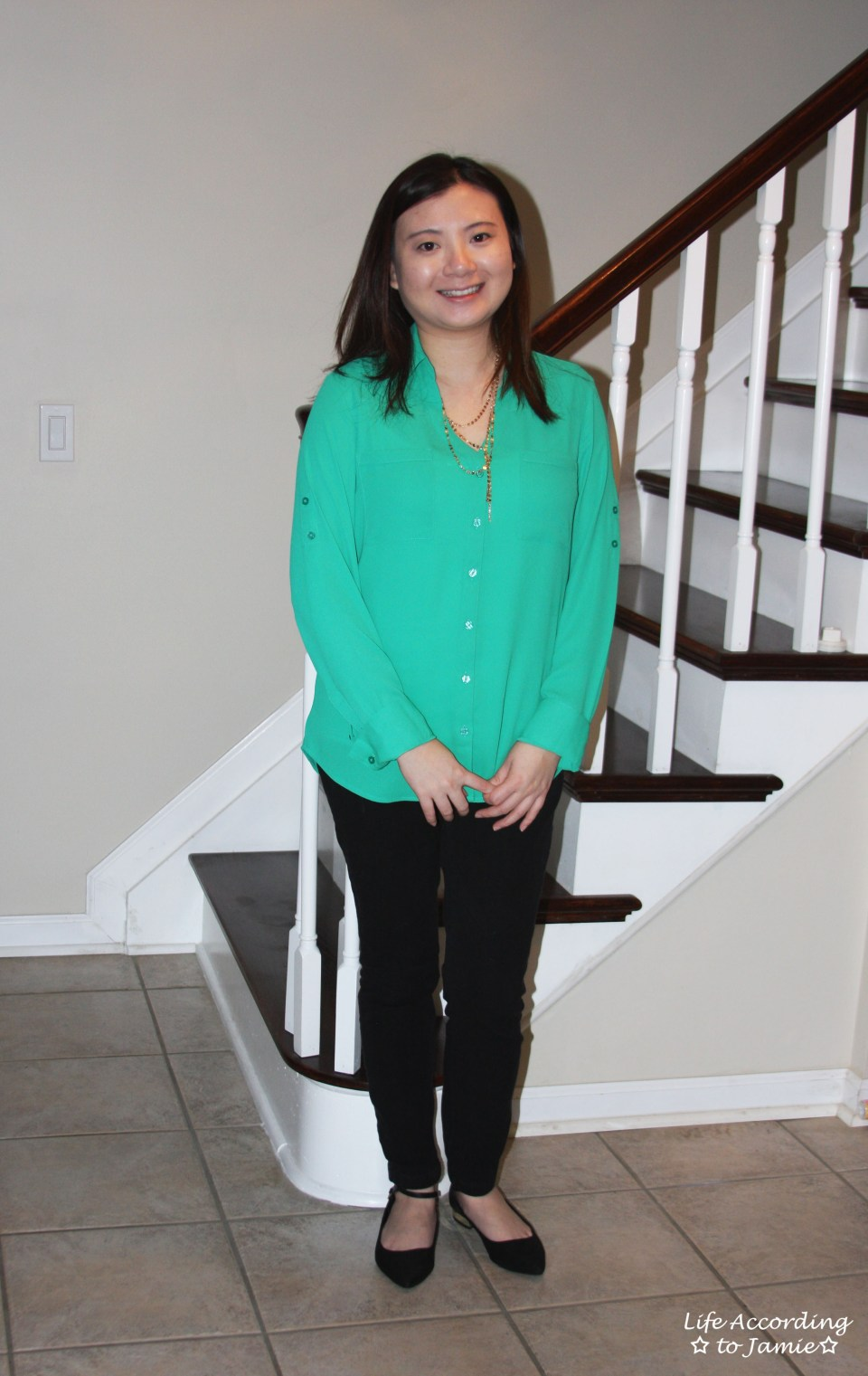 Kelly Green Blouse + Gold Layered Necklace 3