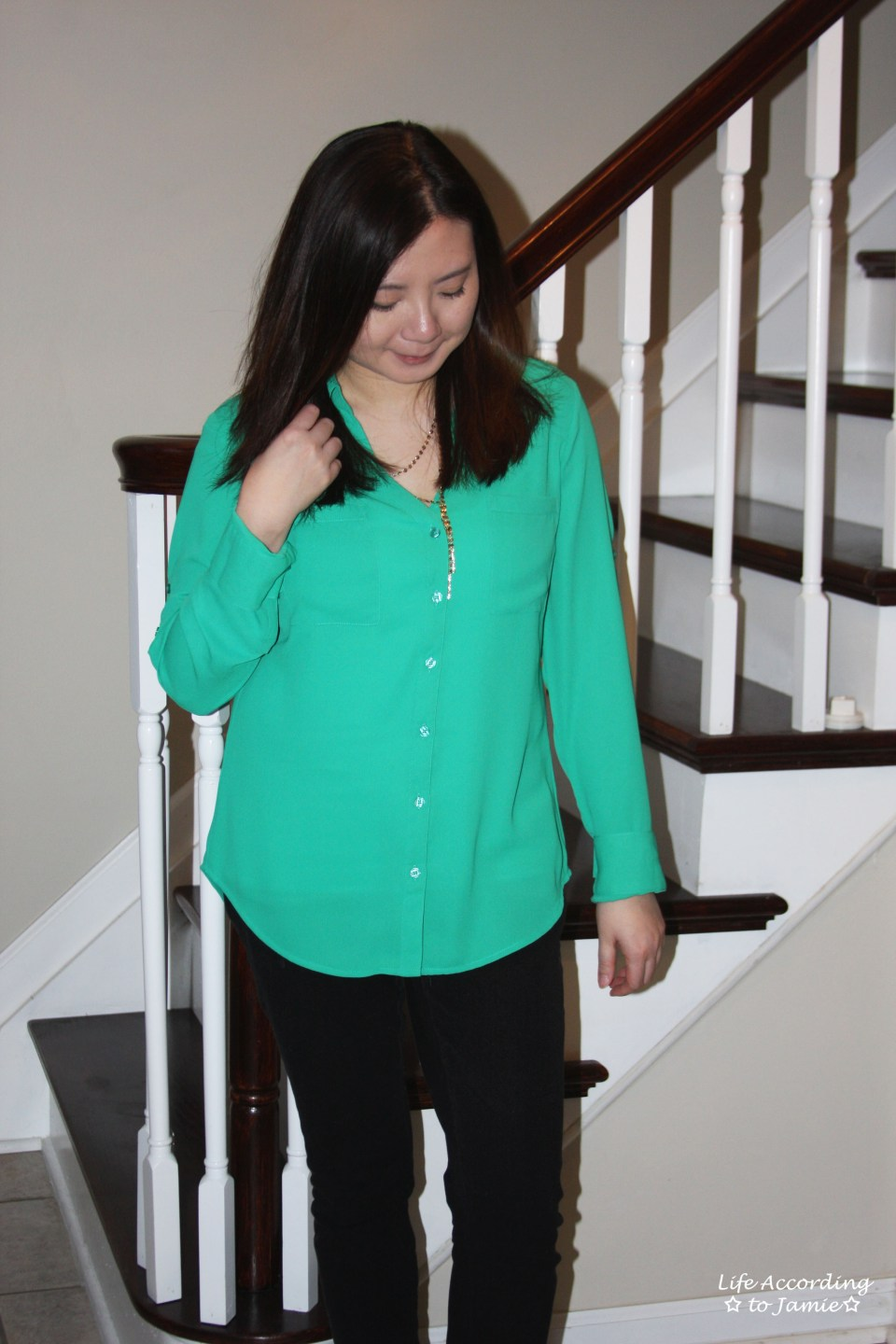 Kelly Green Blouse + Gold Layered Necklace 5