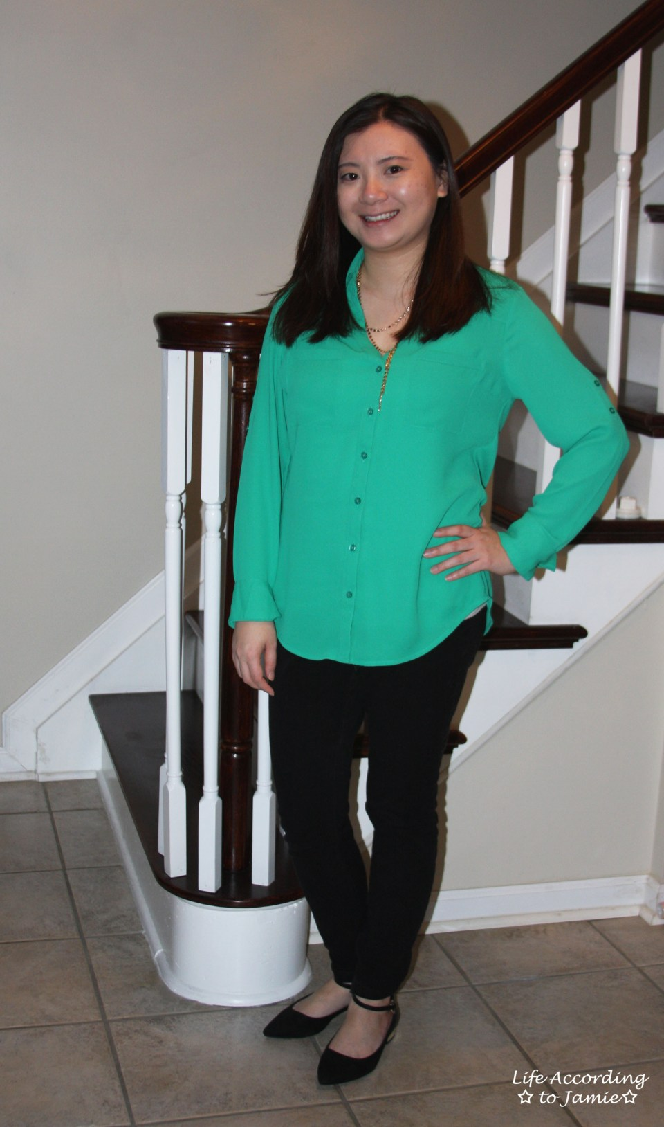 Kelly Green Blouse + Gold Layered Necklace 6