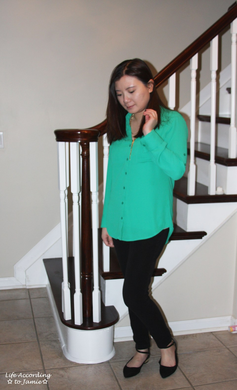 Kelly Green Blouse + Gold Layered Necklace 7