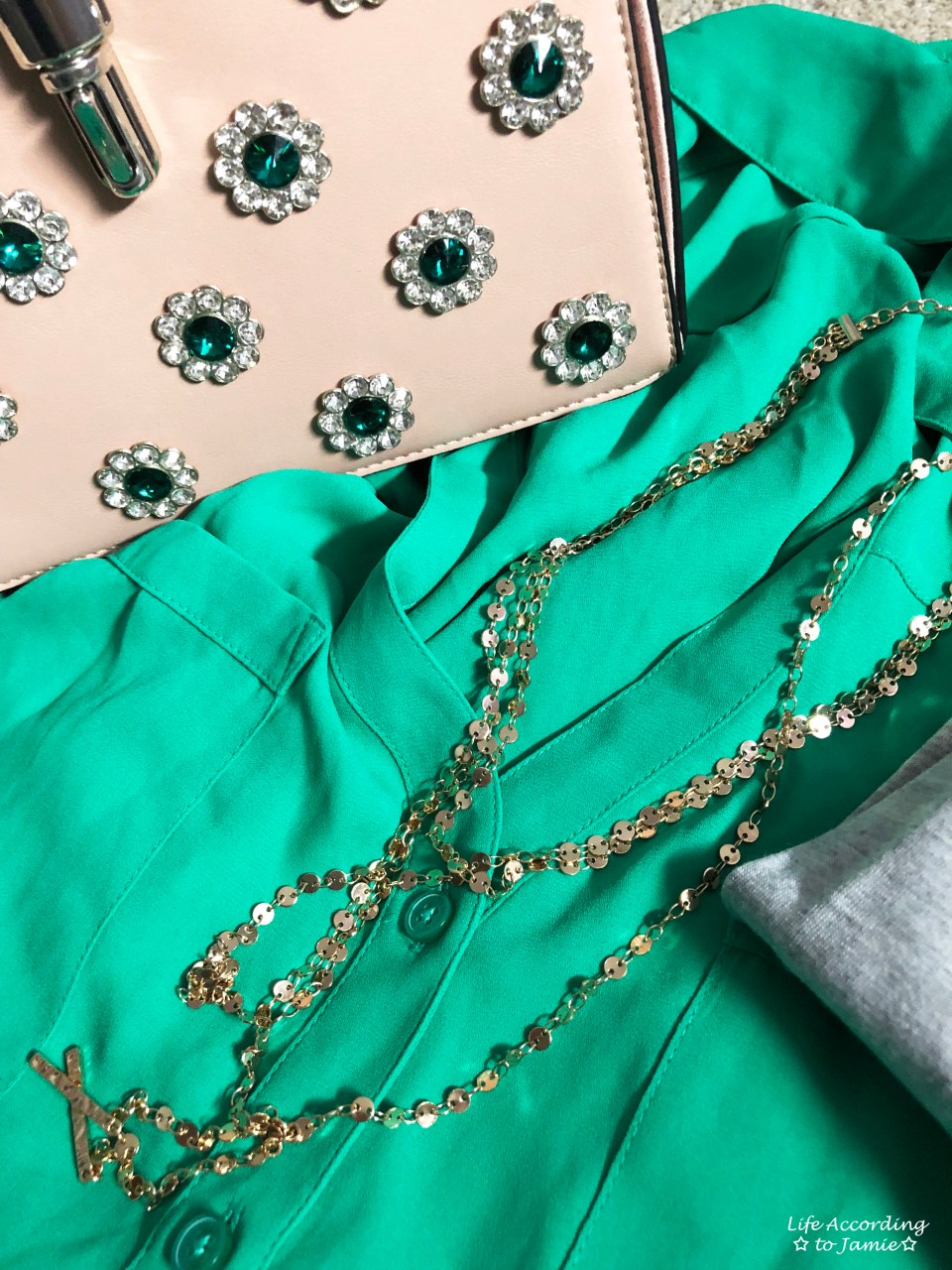 Kelly Green Blouse + Gold Layered Necklace 9