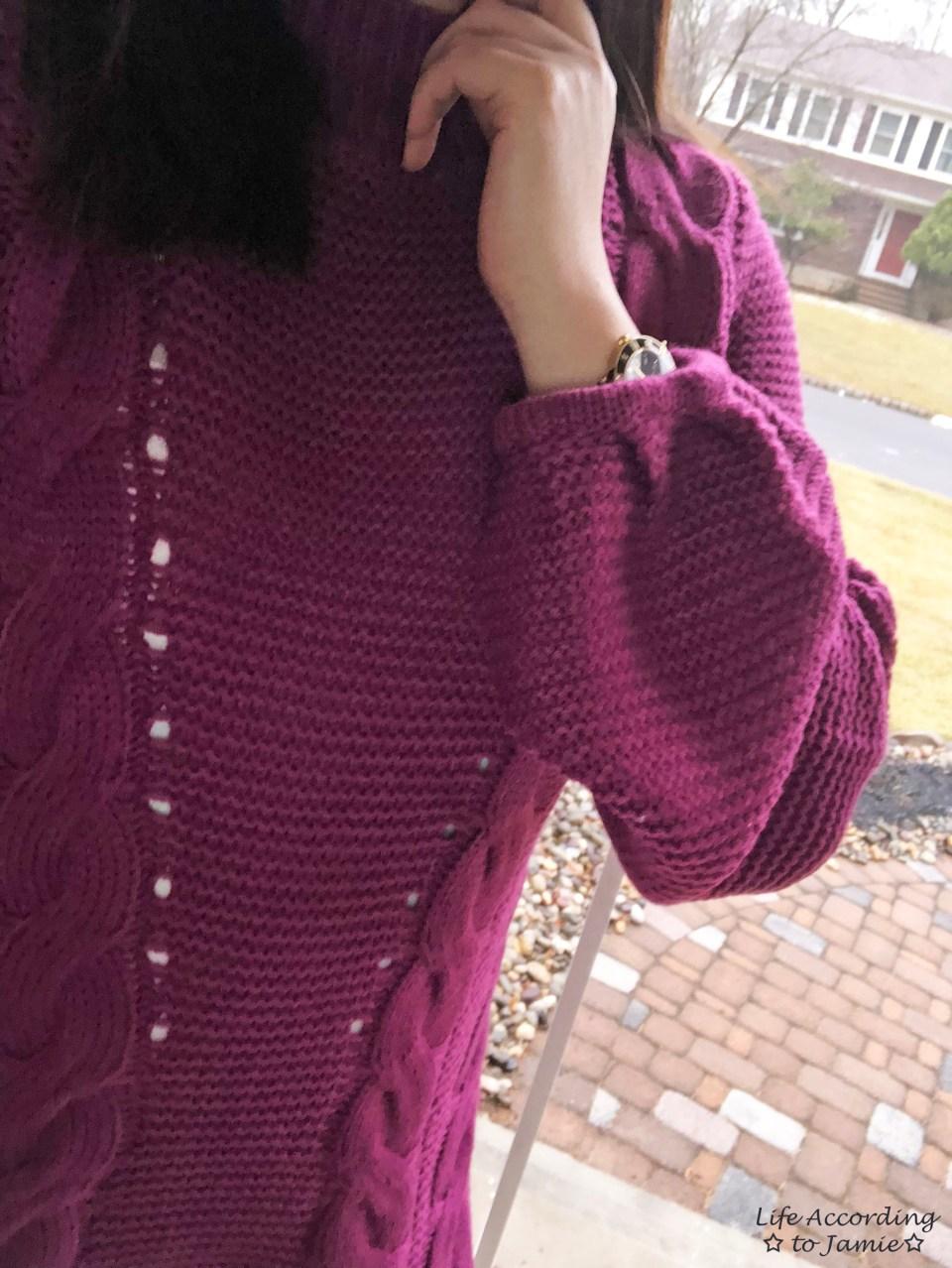 Magenta Balloon Sleeve Sweater Dress 1