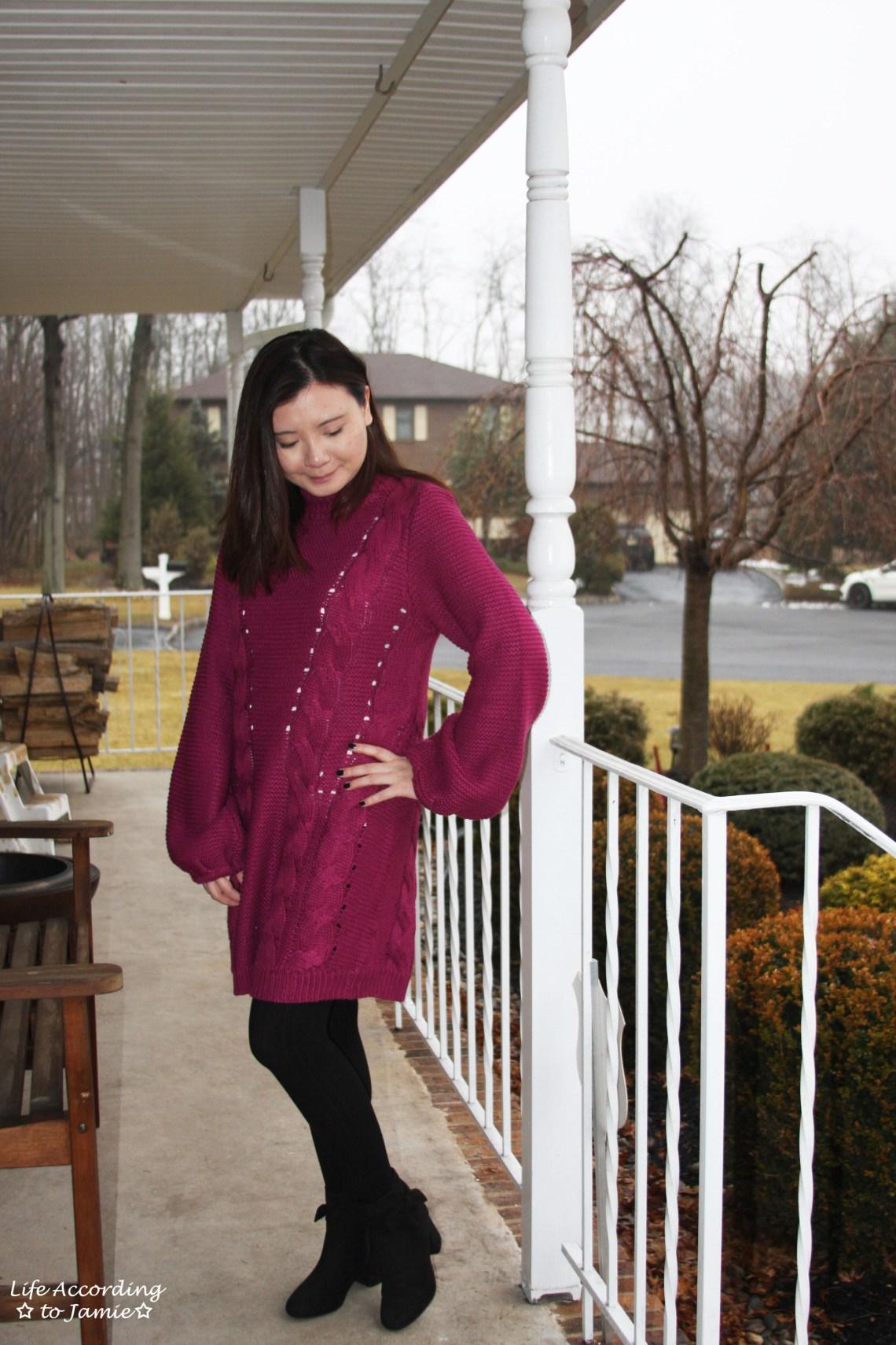 Magenta Balloon Sleeve Sweater Dress