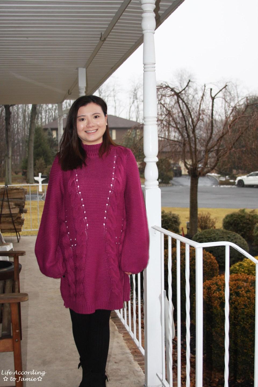 Magenta Balloon Sleeve Sweater Dress 11