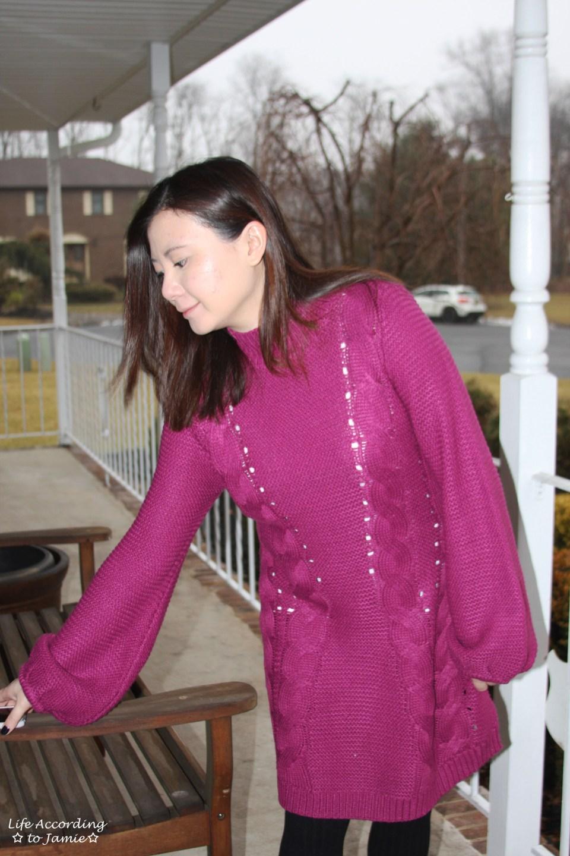 Magenta Balloon Sleeve Sweater Dress 15
