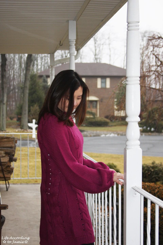 Magenta Balloon Sleeve Sweater Dress 6