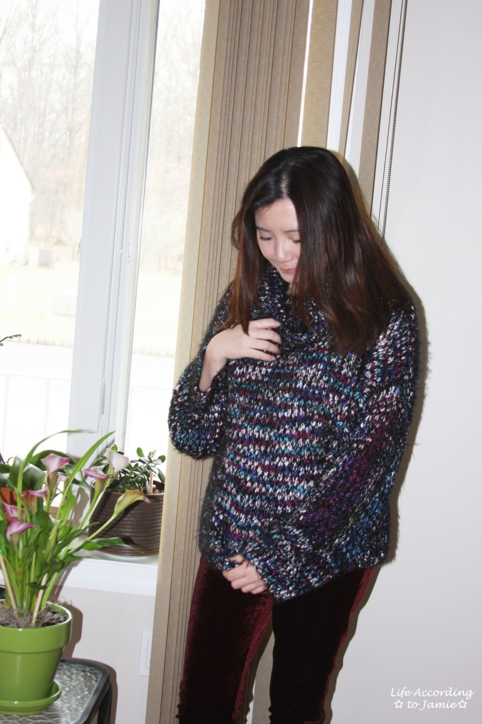 Multicolored Feather Cowl Neck 10
