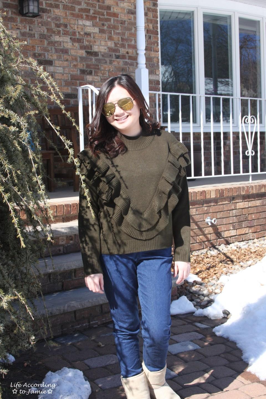 Olive Double Ruffle Sweater 5