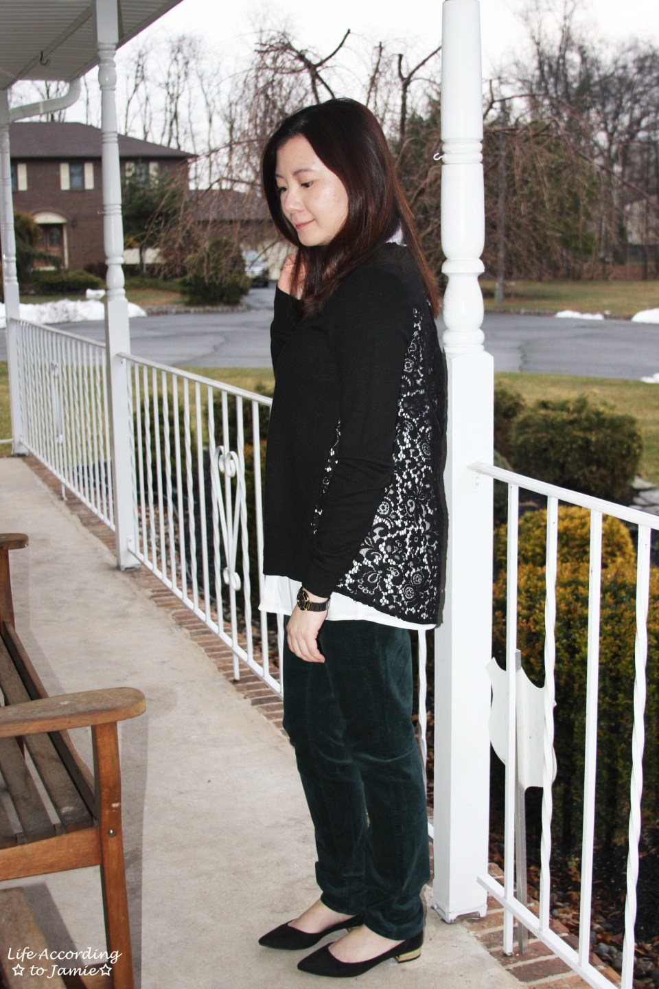 Collared Lace Back Sweater 8