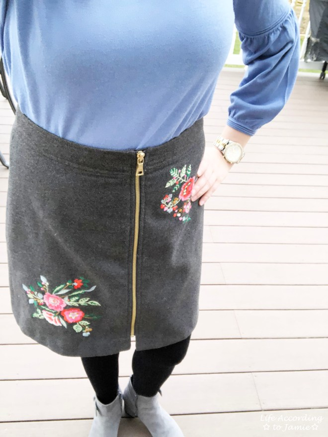 Floral Embroidered Zip Skirt 1