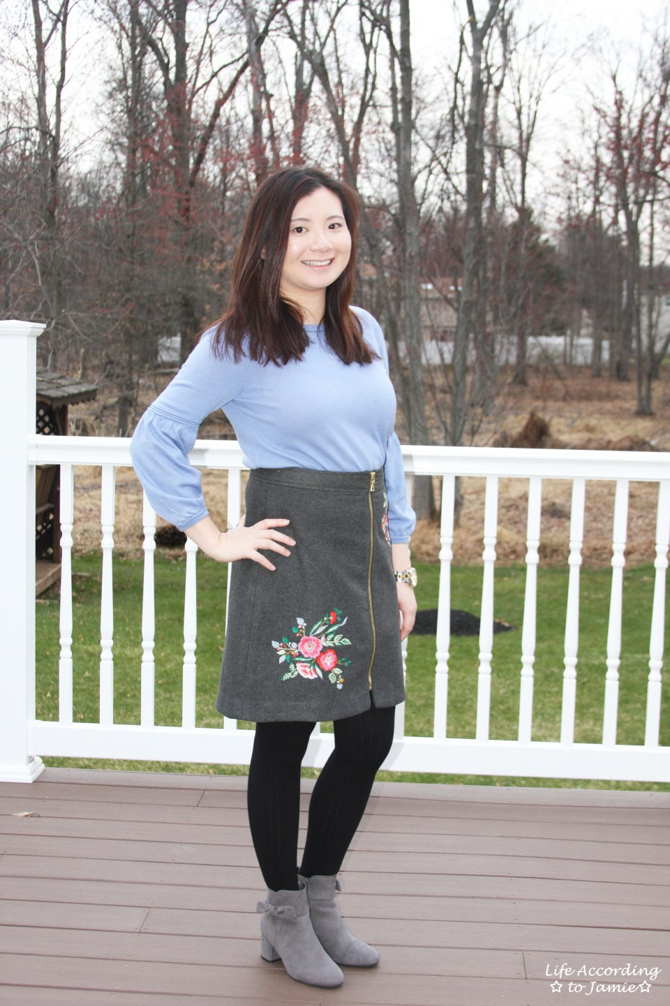 Floral Embroidered Zip Skirt 10