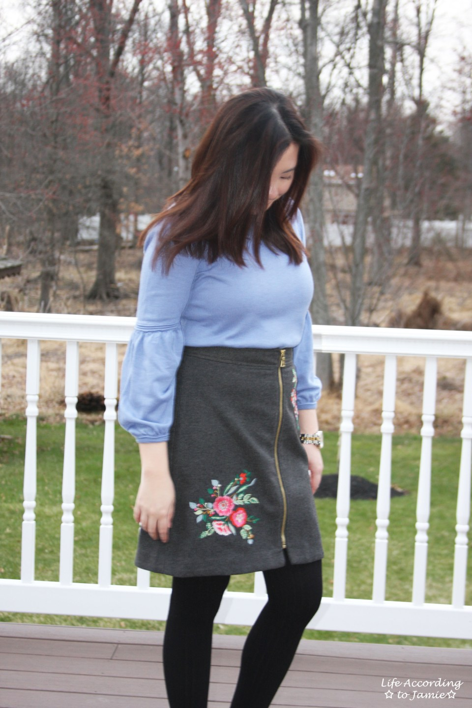 Floral Embroidered Zip Skirt 11