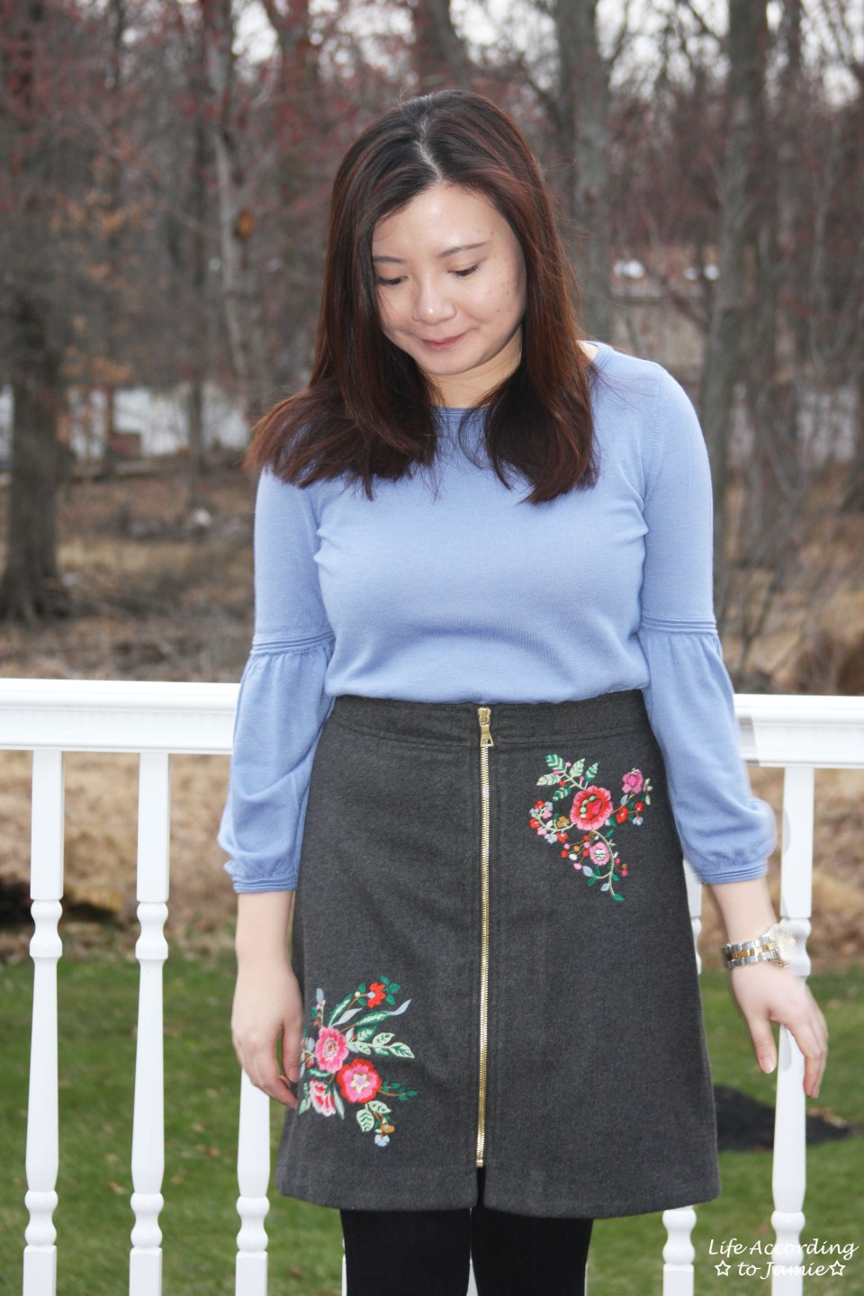 Floral Embroidered Zip Skirt 12