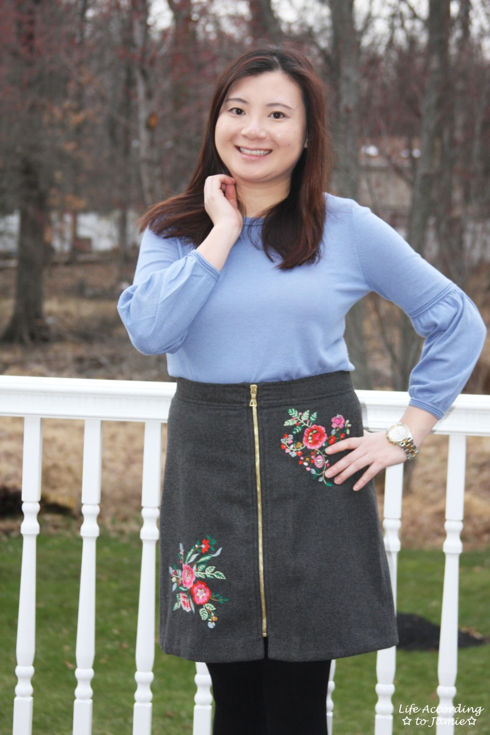 Floral Embroidered Zip Skirt 14