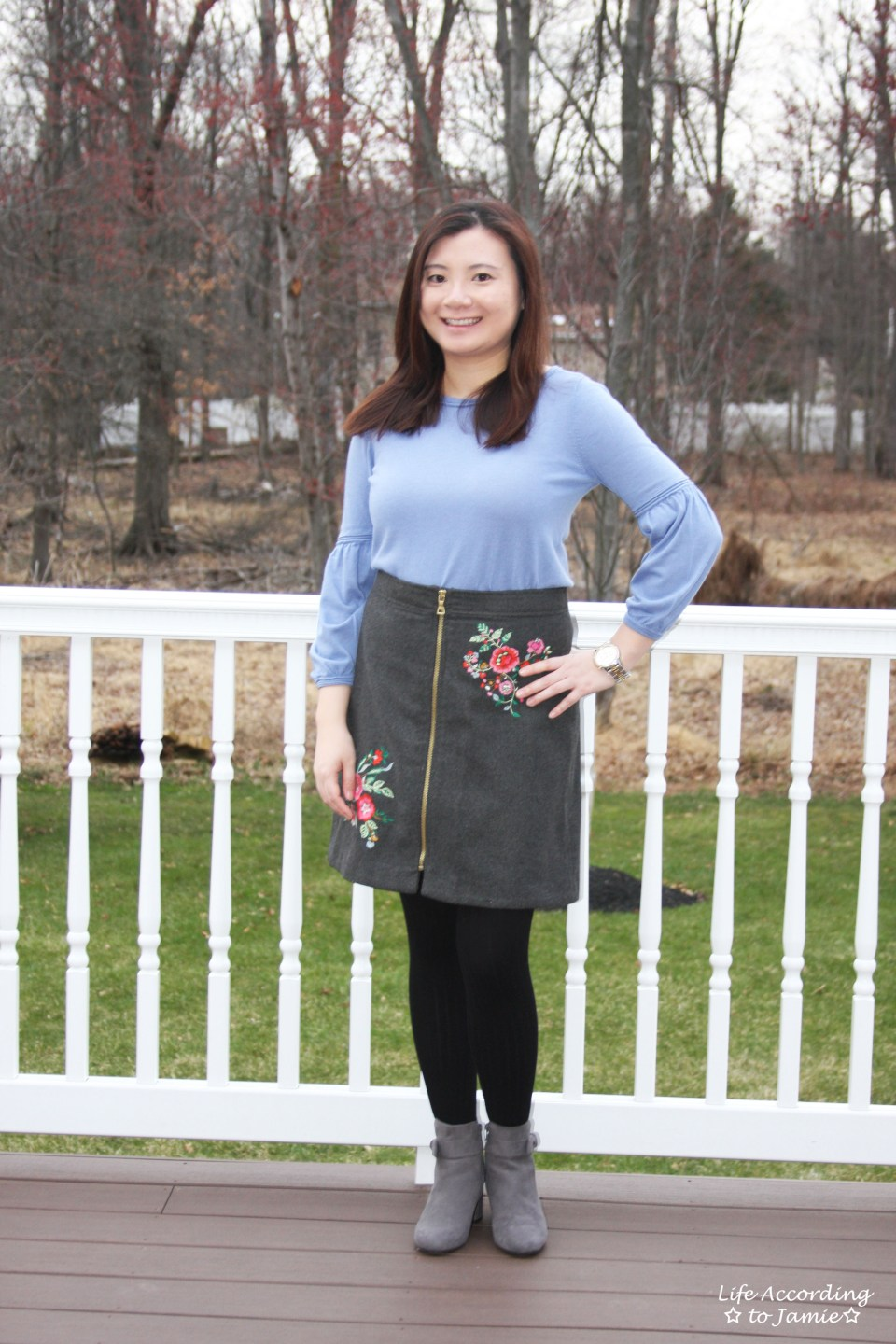 Floral Embroidered Zip Skirt 15