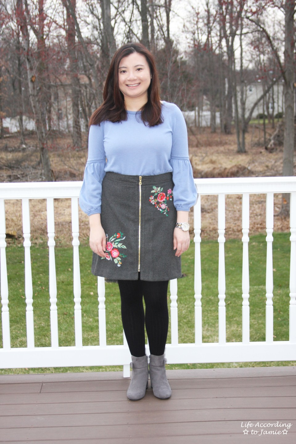 Floral Embroidered Zip Skirt 16
